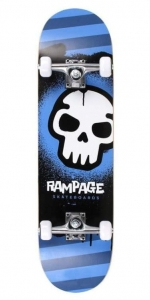 "Rampage Graffiti Skull skateboard | 8"" Blue"